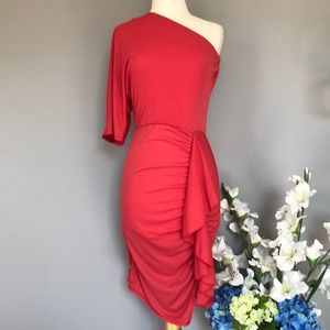 RACHEL ROY one shoulder ruffle cocktail dress XS